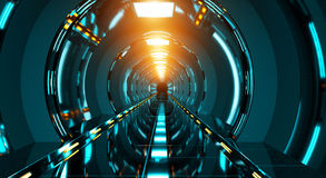 Dark futuristic spaceship corridor 3D rendering Royalty Free Stock Photography