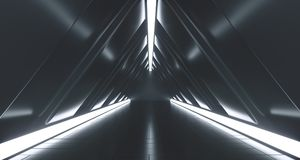 Dark Futuristic Triangle Sci-Fi Empty Corridor Room With Lights. And Reflection. 3D Rendering Illustration stock illustration