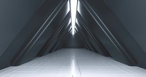 Dark Futuristic Triangle Sci-Fi Empty Corridor Room With Lights. And Reflection. 3D Rendering Illustration royalty free illustration