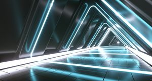 Dark Futuristic Triangle Sci-Fi Empty Corridor Room With Neon Li. Dark Futuristic Triangle Sci-Fi Empty Corridor Room With Colorful Neon Lights And Reflections vector illustration