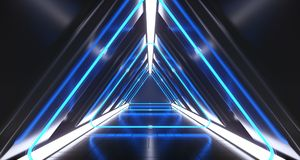 Dark Futuristic Triangle Sci-Fi Empty Corridor Room With Neon Li. Dark Futuristic Triangle Sci-Fi Empty Corridor Room With Colorful Neon Lights And Reflections stock illustration
