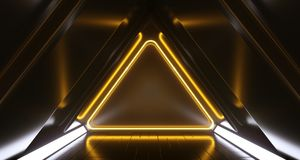 Dark Futuristic Triangle Sci-Fi Empty Corridor Room With Neon Li. Dark Futuristic Triangle Sci-Fi Empty Corridor Room With Colorful Neon Lights And Reflections royalty free illustration