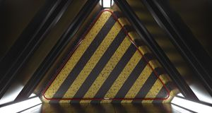 Dark Futuristic Triangle Sci-Fi Empty Room With Hazard Pattern. Wall And Reflections. 3D Rendering Illustration Royalty Free Illustration