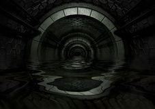 Dark Futuristic Tunnel filled with liquid Stock Photo