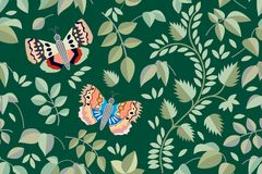 Dark garden with butterflies, herbs, flowers. Seamless pattern with Victorian motifs. Botanical illustration with different floral elements. Vector for textile Stock Photography