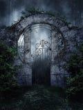 Dark garden gate Stock Photo