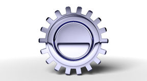Dark gear. Dark reflection on a gear with shadow on white. Easy to isolate vector illustration