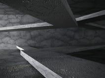 Dark geometric architecture concrete construction background. 3d render illustration royalty free illustration