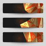 Dark geometric banners. Dark banners with geometric elements vector illustration