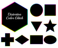Dark geometric figures with distortion color glitch. Set of vect. Or shapes: square, circle, ellipse, rectangle, hexagon, rhomb, cross, triangle, star. Colorful Royalty Free Stock Image