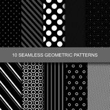 10 Dark geometric seamless patterns. With circles, dots and stripes Stock Image