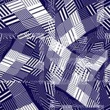 Dark geometric tiles seamless pattern, vector mosaic squared dec Stock Photos