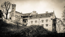 The dark German castle of Hohenschwangau Stock Image