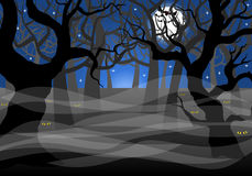 Dark ghostly forest and full moon. Vector illustration of a dark ghostly forest and full moon Stock Photo