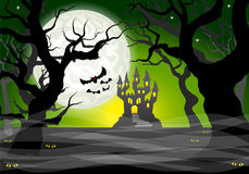 Dark ghostly forest and full moon. Vector illustration of a dark ghostly forest and full moon Stock Image