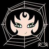 Dark girl. A dark girl with green eyes on a black background covered by a spider web. Illustration Stock Photography