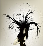 Dark girl with abstract lines Stock Photo