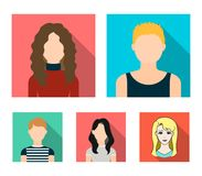 A dark girl, a redheaded boy, a curly-haired woman. A teenage blond.Avatar set collection icons in flat style vector. Symbol stock illustration Stock Image