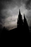Dark gloomy clouds above the cathedral of ST Gerhard Royalty Free Stock Image
