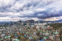 Dark gloomy sky over seoul Stock Photography