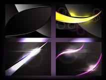 Dark Glow Backgrounds. Set of four vector illustration