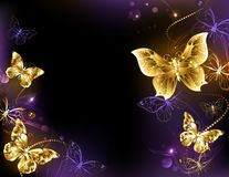 Background with gold butterflies. Dark glowing background with gold, jeweled butterflies. Design with gold butterflies Stock Photos
