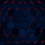 Dark Glowing Hexagon Background Stock Image