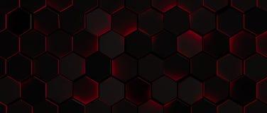 Dark Glowing Red Hexagon Background Stock Photos