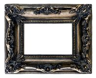 Dark gold baroque picture frame isolated white background. Dark gold baroque picture frame isolated on white background stock photo
