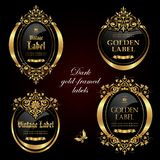 Dark gold-framed and decorated labels - vector design royalty free stock image
