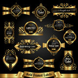Dark gold-framed labels - vector set Royalty Free Stock Photo