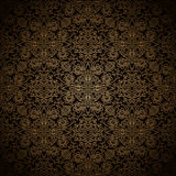 Dark gold pattern. Vintage gold floral ornament on black, abstract seamless pattern Stock Photography