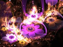 Dark gold and purple fractal flowers. Digital artwork for creative graphic design Stock Photography
