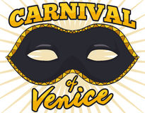 Dark and Golden Colombina Mask for Venice Carnival, Vector Illustration Stock Photography