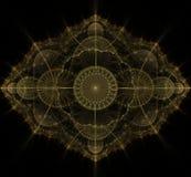 Dark gold fractal mandala on black background Royalty Free Stock Photo