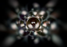 Dark gothic music speaker. Spinning audio speaker on a dark spinning background Royalty Free Stock Images