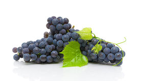 Dark grapes and green leaves closeup on white background Royalty Free Stock Image