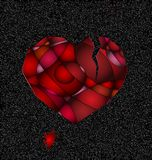 Gray and broken red heart. Dark gray background and the abstract large broken red heart Stock Image