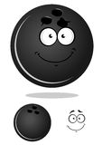 Dark gray cartoon bowling ball. Cartoon glossy bowling ball character with shadow and a duplicate without smiling face for bowling club or team mascot design Stock Images
