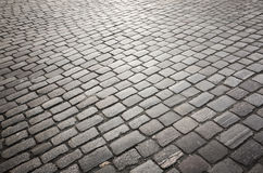 Dark gray cobble road background Royalty Free Stock Photography