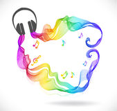 Dark gray headphones icon with color abstract wave Royalty Free Stock Photography