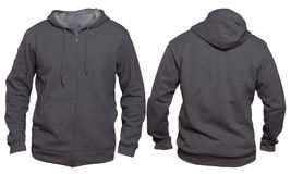 Dark Gray Hoodie Mock up. Blank sweatshirt mock up template, front, and back view, isolated on white, plain dark gray hoodie mockup. Hoody design presentation Stock Images