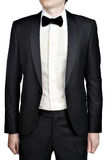 Dark gray mens evening dress, blazer, white shirt, bow tie. Royalty Free Stock Photos