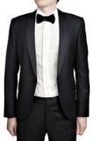 Dark gray mens evening dress, blazer, white shirt, bow tie. Royalty Free Stock Photos