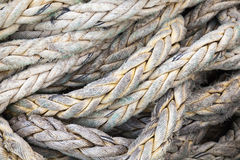 Dark gray nautical rope, background texture Stock Photos