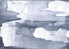 Dark gray nebulous watercolor painting. Hand-drawn abstract watercolor texture. Used contrasting and transient colors Royalty Free Stock Images
