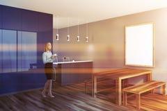 Dark gray rustic dining room corner toned stock image