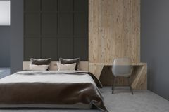 Dark gray Scandi style bedroom interior, table royalty free illustration
