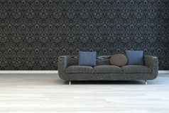 Dark Gray Sofa on an Architectural Lounge Room Stock Images