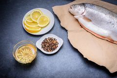 On a dark gray tabletop lies a shed fish on kraft paper a plate with lemon pepper salt and spices and oil royalty free stock images